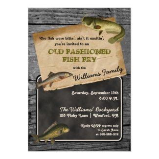 Rustic Fish Fry Backyard Cookout Picnic Card