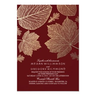 Burgundy Fall Wedding Invitation with Gold Leaves