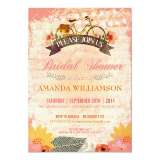 Whimsical Hipster Bicycle Bridal Shower Invitation