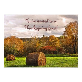 Autumn Hay Harvest Thanksgiving Invitation