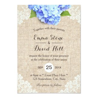 Blue Hydrangea Wedding Invitation with Burlap and Floral Lace
