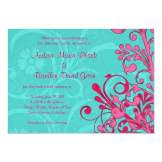 Turquoise and Pink Floral Wedding Invitation