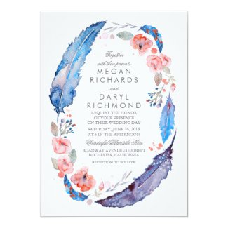 Rustic Bohemian Wedding Invitation with Flowers
