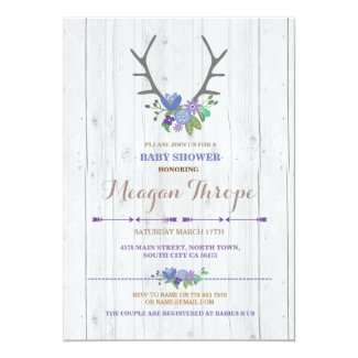 Blue Boy Stag Rustic Flower Baby Shower Invitation
