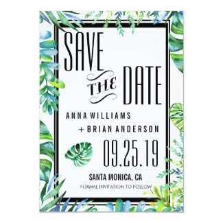 Watercolor Tropical Beach Wedding Save the Date Card