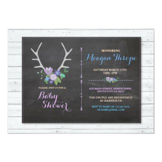 Blue Shower Boy Stag Rustic Flower Baby Invitation