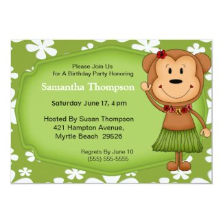 Hawaiian Monkey Birthday Invitations