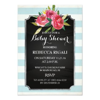 Baby Shower Invite - Floral Blue Stripes