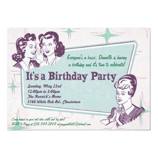 Retro Beehive Hairdo- Birthday Invitation