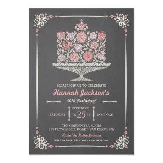 Lacy Flower Birthday Cake Chalkboard Invitation