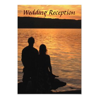 Tropical Beach Sunset Wedding Reception Invitation