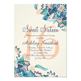 Modern floral coral teal watercolor Sweet 16 Card