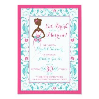 Pink Turquoise Bride Eat Drink Bridal Shower Card