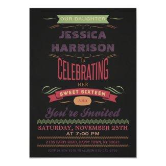 Sweet 16 Vintage Chalkboard Typography Card