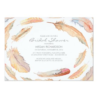 boho watercolor feathers tribal bridal shower card