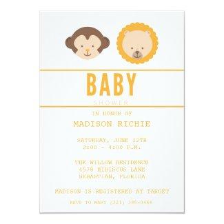 Jungle Theme Boy Baby Shower Invitation