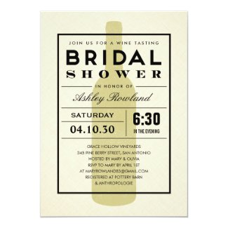 Modern Wine Bridal Shower Invitations
