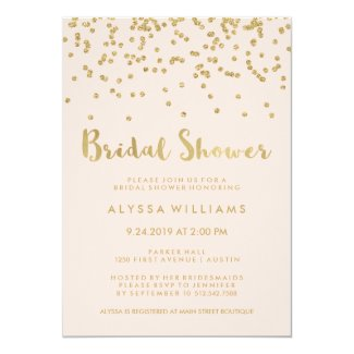 Glam Gold Confetti Bridal Shower on Blush Pink Card