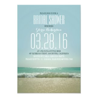 Modern beach bridal shower invitations with sea