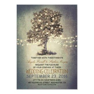 Rustic Tree Wedding Invitation with String Lights