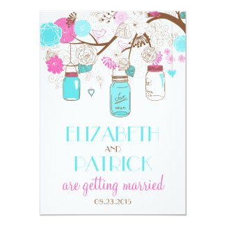 Turquoise & Hot Pink Mason Jars Wedding Invitation