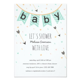 Tribal Baby Shower Invitations | Neutral Mint