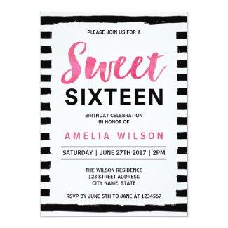 Black & White Stripes Sweet 16 Birthday Invitation