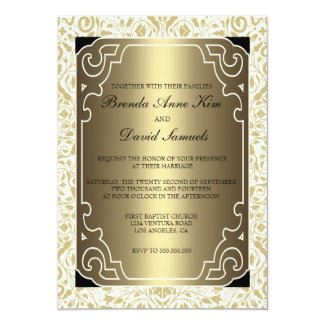 Golden 1920s Art Deco Wedding Invitation