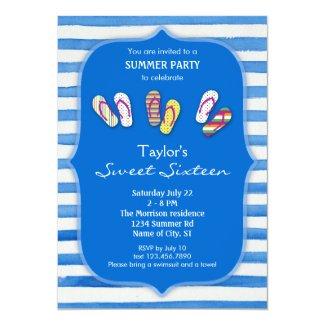 Summer Flip Flops Sweet Sixteen Invitation