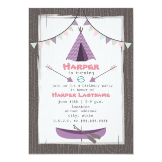 Girls Tipi Birthday Party Invitation Pink + Purple