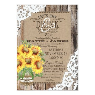 Country Sunflower Wood Lace Rustic Wedding Card
