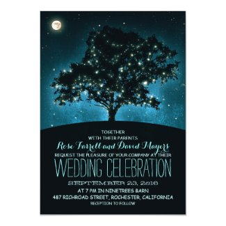 Rustic Starry Night Wedding Invitation with Tree and String Lights