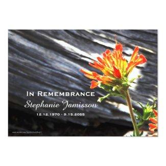 Memorial Service Invitation, Indian Paintbrush Card