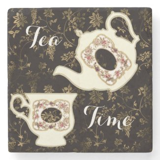 Victorian Teapot and Teacup on Ornate Design Stone Coaster