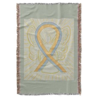 Gold and Gray Awareness Ribbon Angel Throw Blanket