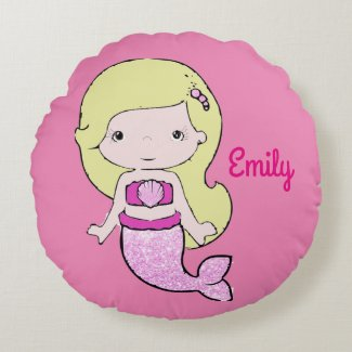 Pink Blonde Mermaid Personalized Pillow