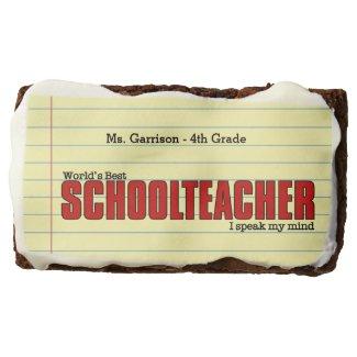 Schoolteacher Piece of Mind | Funny Custom Chocolate Brownie