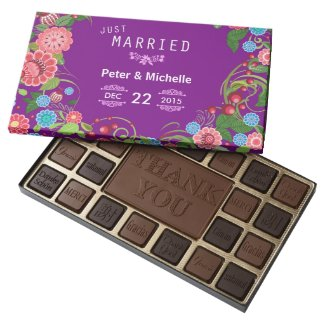Purple Floral Just Married Wedding Chocolates Box