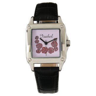 Red Roses Border on Pink with Personalized Name Wrist Watches