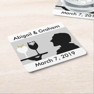 Bride & Groom Wineglass Icons Square Paper Coaster