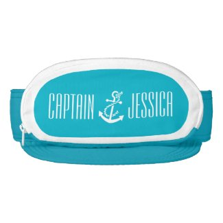Aqua Blue And White Nautical Boat Anchor Visor