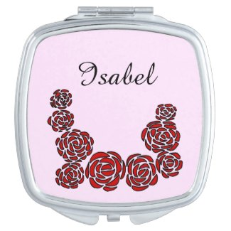 Floral Border of Red Roses with Personalized Name Compact Mirror