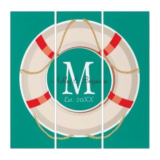 Nautical Buoy Monogram Wedding or Anniversary Triptych
