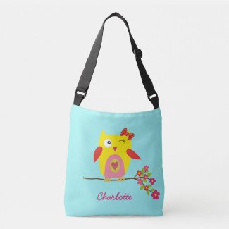 Personalized Cute Owl Yellow Pink Illustration Crossbody Bag