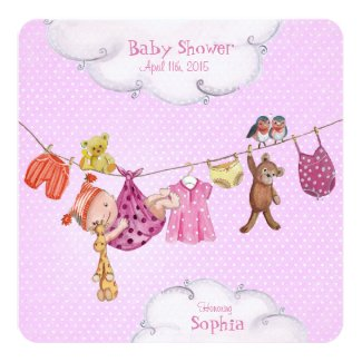 Baby clothesline Baby Shower invitation Girl
