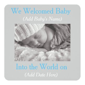 Gray and Blue Baby Boy Birth Announcements