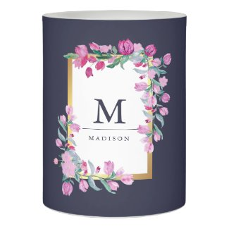 Pink Watercolor Flowers with Gold on Midnight Blue Flameless Candle