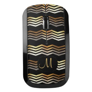 Monogram - Gold & Black Ikat Chevron Wireless Mouse