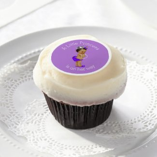 Purple Ethnic Little Princess Baby Shower Edible Frosting Rounds