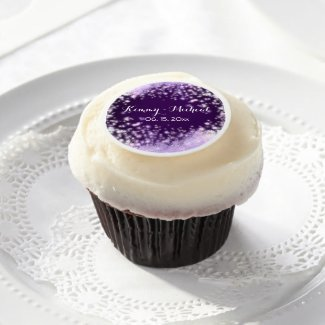 Purple Fuzzball Wedding Edible Frosting Rounds
